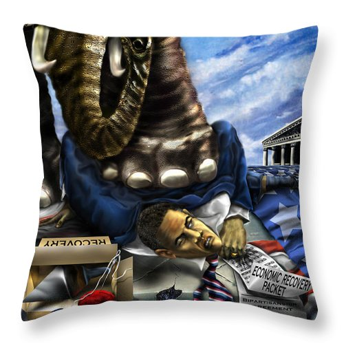 Political Satire Painting Throw Pillow featuring the painting Obama by Reggie Duffie