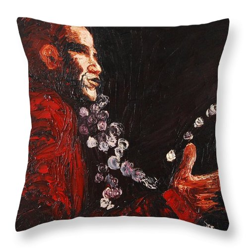 Barak Obama Throw Pillow featuring the painting Obama Speaks We Listen by Lauren Luna