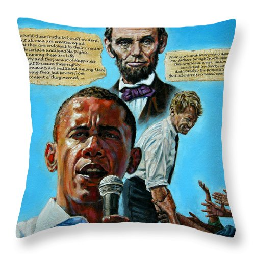 Obama Throw Pillow featuring the painting Obamas Heritage by John Lautermilch