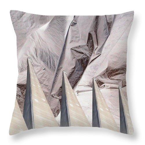 Obelisk Throw Pillow featuring the digital art Obelisks Aligned by Ron Bissett