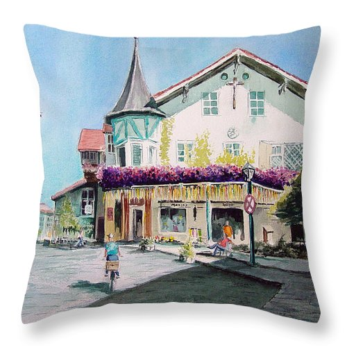 German Throw Pillow featuring the painting Oberammergau Street by Sam Sidders