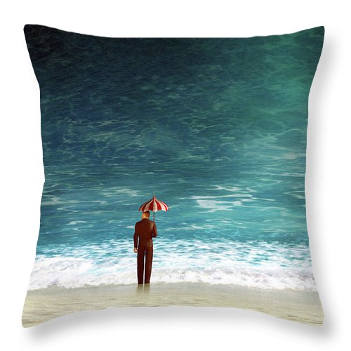 Wave Throw Pillow featuring the digital art Oblivious by Cynthia Decker