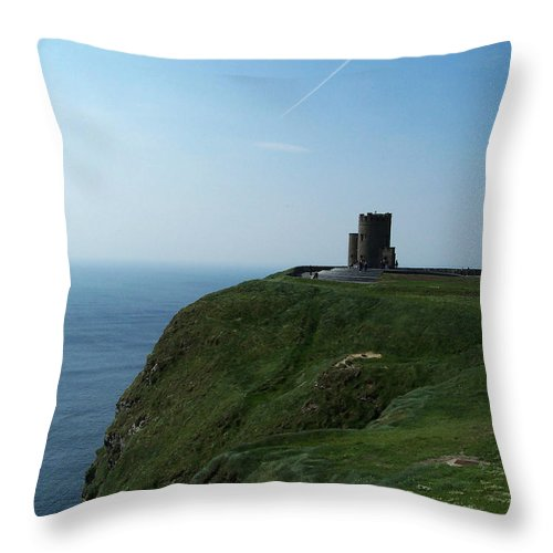 Irish Throw Pillow featuring the photograph O'brien's Tower At The Cliffs Of Moher Ireland by Teresa Mucha