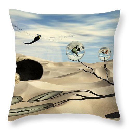 Surrealism Throw Pillow featuring the digital art Observations by Richard Rizzo