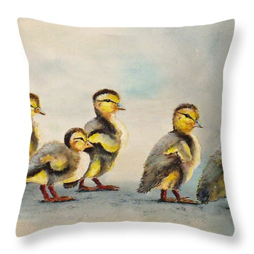 Babies Throw Pillow featuring the painting Obstacle Course by Dee Carpenter