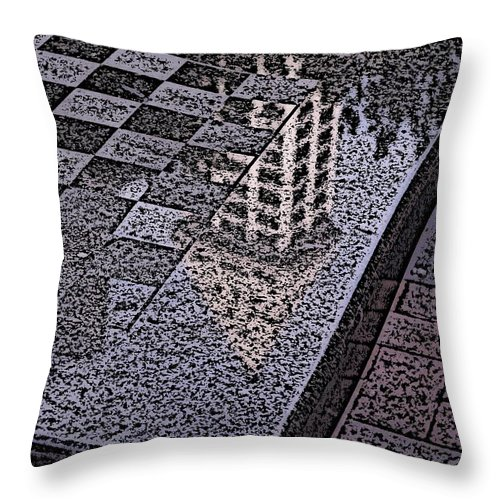 Seattle Throw Pillow featuring the digital art Occidental Park Checkerboard by Tim Allen