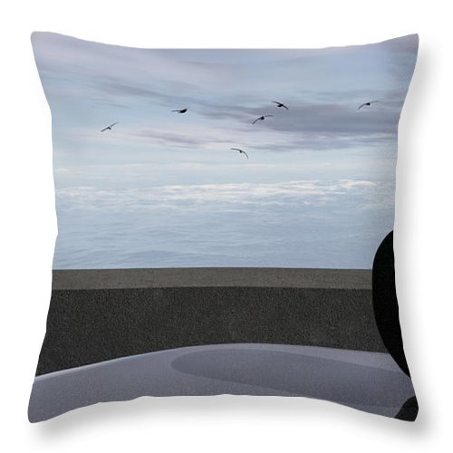 Modern Throw Pillow featuring the digital art Ocean Balcony by Richard Rizzo