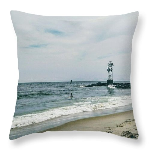 Water Throw Pillow featuring the photograph Ocean City I by Aly Robinson