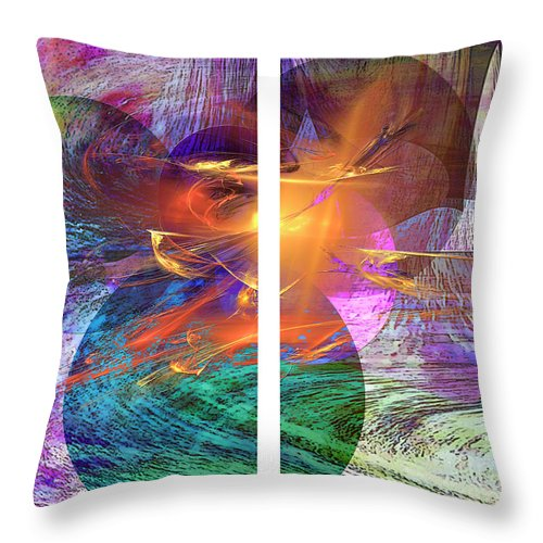 Ocean Fire Throw Pillow featuring the digital art Ocean Fire by John Beck