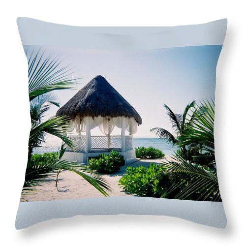 Resort Throw Pillow featuring the photograph Ocean Gazebo by Anita Burgermeister