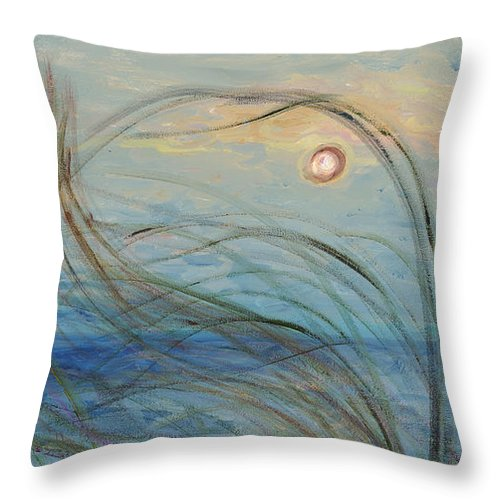 Sunrise Throw Pillow featuring the painting Ocean Grasses in the Wind by Nadine Rippelmeyer