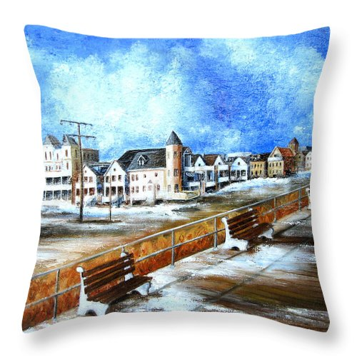 New Jersey Throw Pillow featuring the painting Ocean Grove by Leonardo Ruggieri