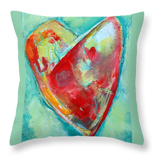 Heart Throw Pillow featuring the painting Ocean Heart by Racquel Morgan