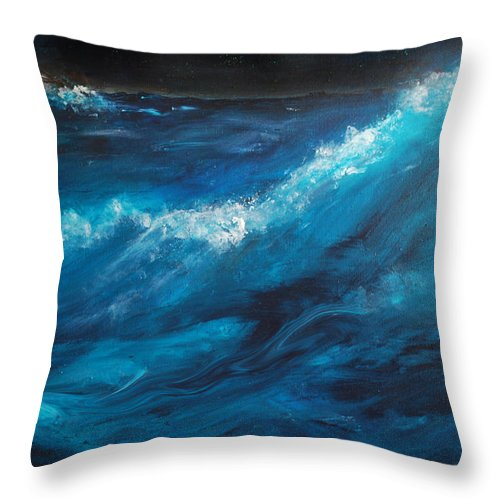 Crashing Waves Throw Pillow featuring the painting Ocean II by Patricia Motley