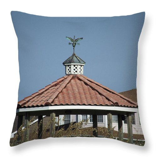 Ocean Throw Pillow featuring the photograph Ocean Isle Pelican Weathervane by Teresa Mucha