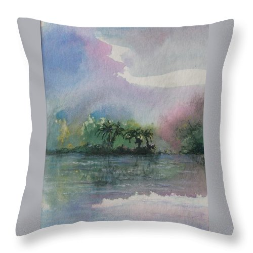 Tropical Island Throw Pillow featuring the painting Ocean Pearls by Melody Horton Karandjeff