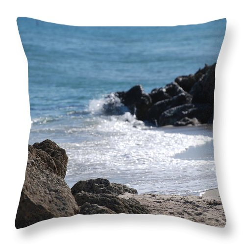 Sea Scape Throw Pillow featuring the photograph Ocean Rocks by Rob Hans