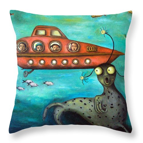 Sea Monster Throw Pillow featuring the painting Ocean Screams by Leah Saulnier The Painting Maniac