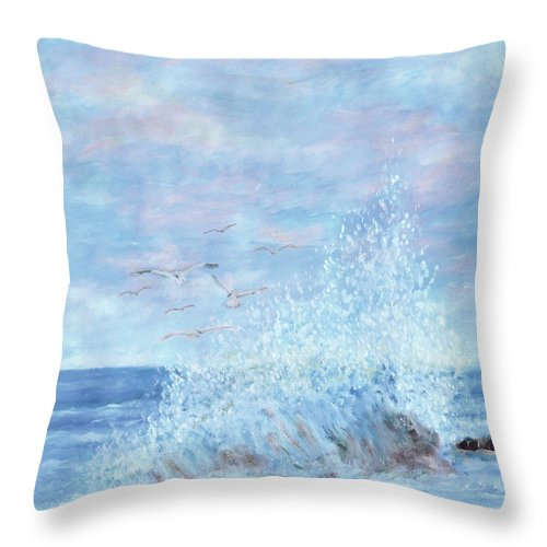 Gulls Throw Pillow featuring the painting Ocean Spray by Ben Kiger