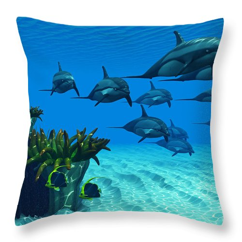 Striped Dolphin Throw Pillow featuring the painting Ocean Striped Dolphins by Corey Ford