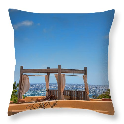 Curacao Throw Pillow featuring the photograph Ocean View by Nadia Sanowar