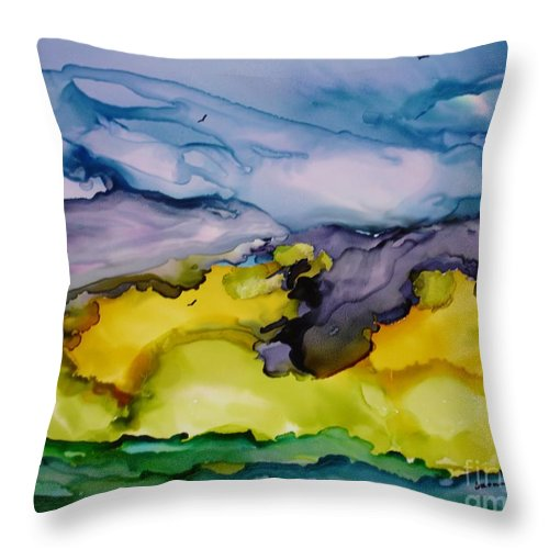 Landscape Throw Pillow featuring the painting Ocean View by Susan Kubes