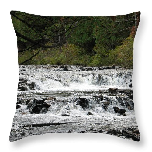 Waterfall Throw Pillow featuring the photograph Ocqueoc by Kelly Mezzapelle