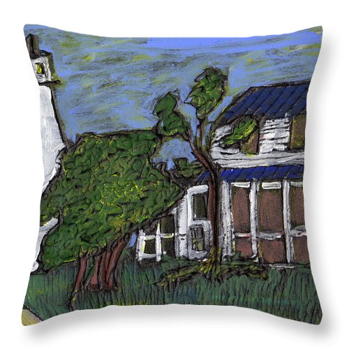 Light House Throw Pillow featuring the painting Ocracoke Island Light House by Wayne Potrafka