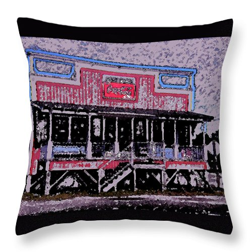 Retail Throw Pillow featuring the photograph Ocracoke Island Shop by Wayne Potrafka
