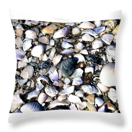 Ocracoke Throw Pillow featuring the photograph Ocracoke Shells by Wayne Potrafka