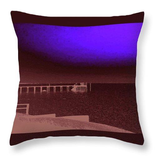 Ocracoke Throw Pillow featuring the photograph Ocracoke Shoreline Pier by Wayne Potrafka