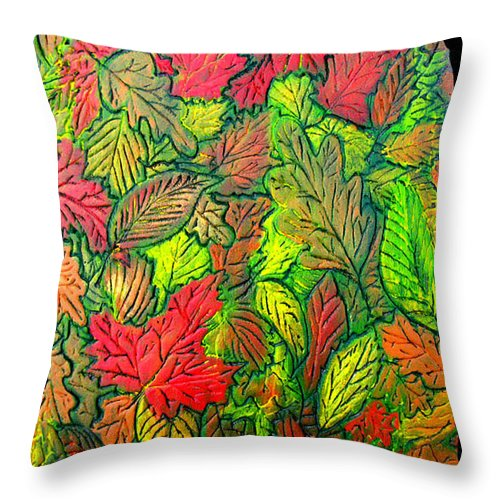 Leaves Throw Pillow featuring the painting October 21st. by Wayne Potrafka