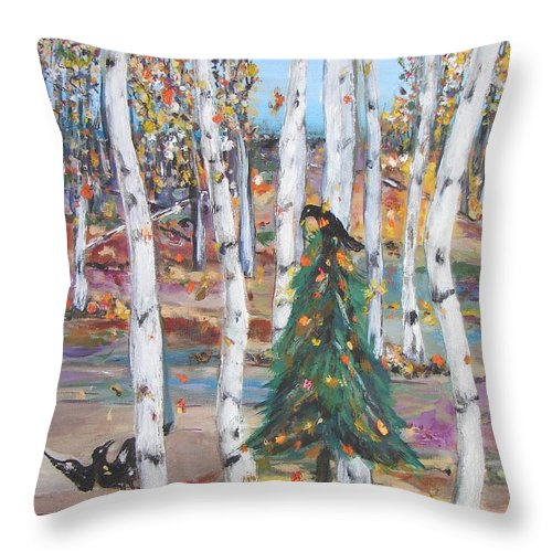 Fall Aspens With Lone Pine Tree Decorated With Gold Leaves And Two Crows Throw Pillow featuring the painting October Christmas by Sarah Wharton White