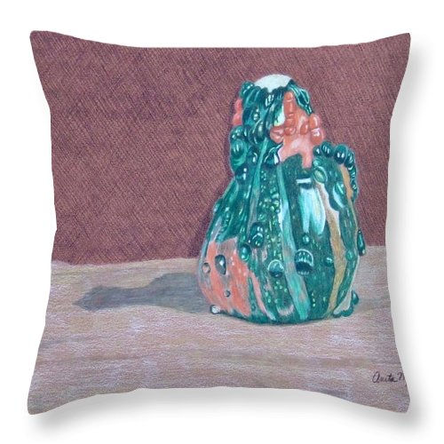 Gourd Throw Pillow featuring the painting October Color by Anita Putman