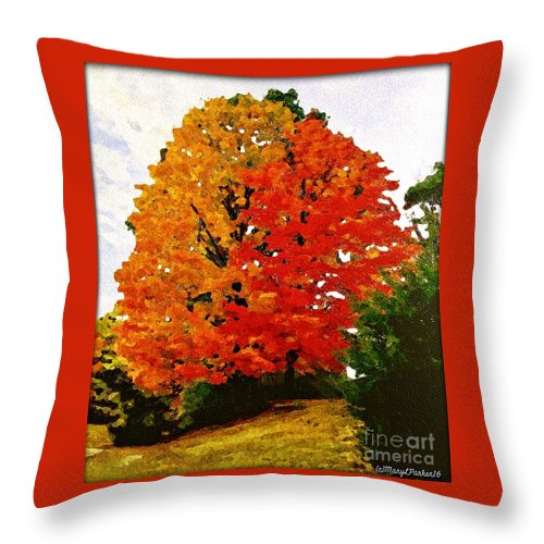 Tree Throw Pillow featuring the mixed media October Colors by MaryLee Parker