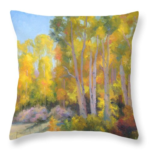 Autumn Throw Pillow featuring the painting October Delight by Bunny Oliver