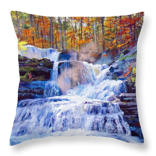 Impressionism Throw Pillow featuring the painting October Falls by David Lloyd Glover
