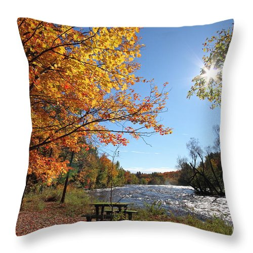 Autumn Throw Pillow featuring the photograph October Light by Mircea Costina Photography