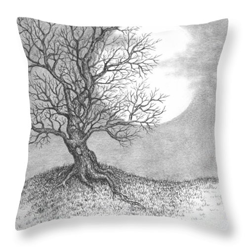 Pen And Ink Throw Pillow featuring the drawing October Moon by Adam Zebediah Joseph