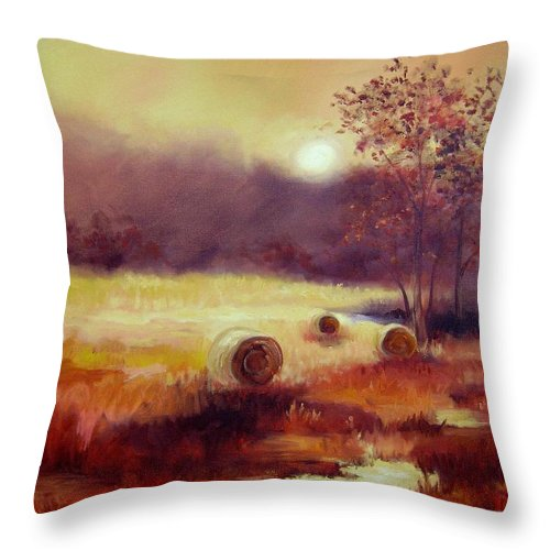 Fall Landscapes Throw Pillow featuring the painting October Pasture by Ginger Concepcion