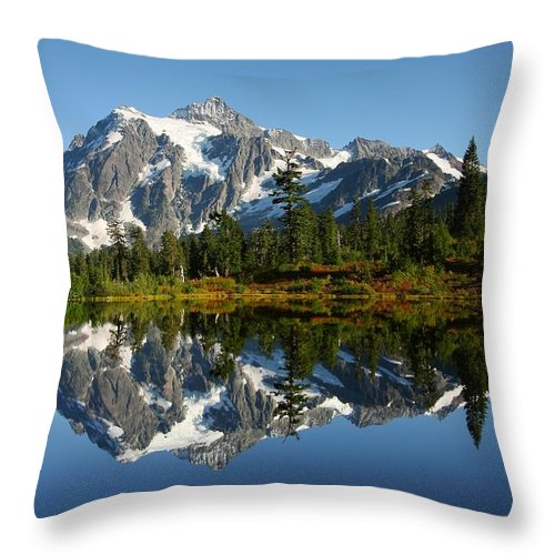 Mountain Reflection Lake Summit Mirror Throw Pillow featuring the photograph October Reflection by Winston Rockwell