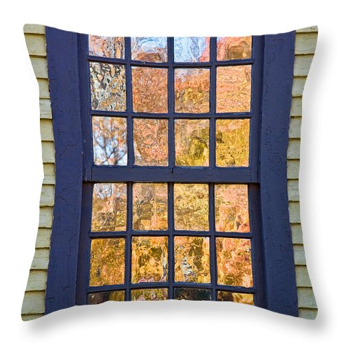 Colonial Throw Pillow featuring the photograph October Reflections 1 by Edward Sobuta