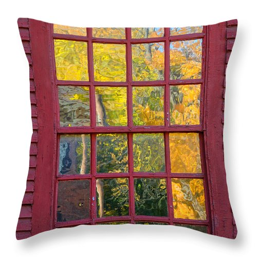 Colonial Throw Pillow featuring the photograph October Reflections 2 by Edward Sobuta