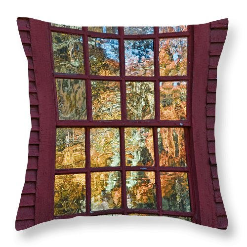Colonial Throw Pillow featuring the photograph October Reflections 3 by Edward Sobuta