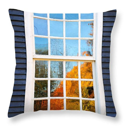 Colonial Throw Pillow featuring the photograph October Reflections 4 by Edward Sobuta