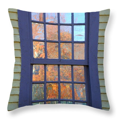 Colonial Throw Pillow featuring the photograph October Reflections 5 by Edward Sobuta