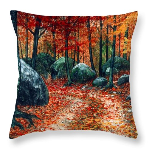 Landscape Throw Pillow featuring the painting October Woodland by Frank Wilson