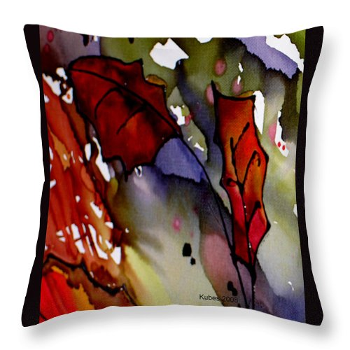 Leaf Throw Pillow featuring the mixed media Octoberfirst by Susan Kubes