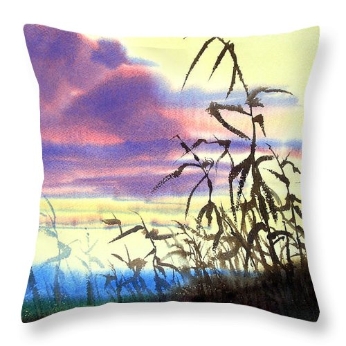 October Throw Pillow featuring the painting October's Kiss by Lee Klingenberg