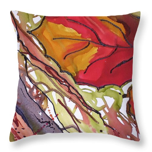 Leaf Throw Pillow featuring the mixed media Octobersecond by Susan Kubes